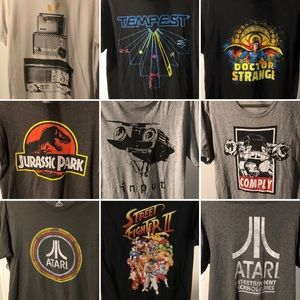 9 Men's Nerdy Shirt Bundle - Sz Med - Pop Culture